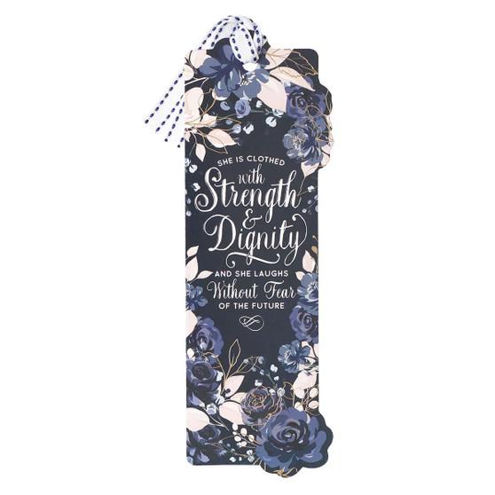 Blue Roses Strength & Dignity Premium Cardstock Bookmark - Proverbs 31:25