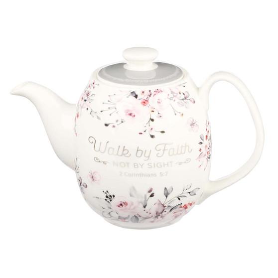 Walk By Faith Ceramic Teapot - 2 Corinthians 5:7