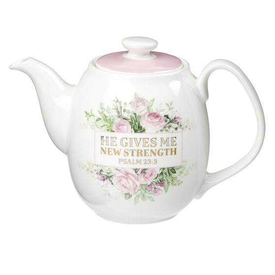He Gives Me New Strength Ceramic Teapot - Psalm 23:3