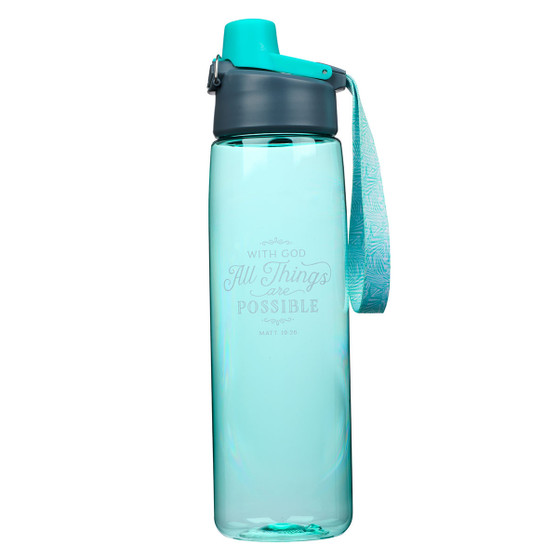 All Things Are Possible Plastic Water Bottle in Teal - Matthew 19:26