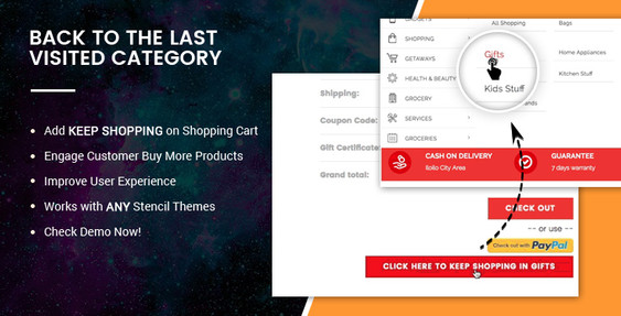BigCommerce Addon: Back to the last visited category on shopping cart page