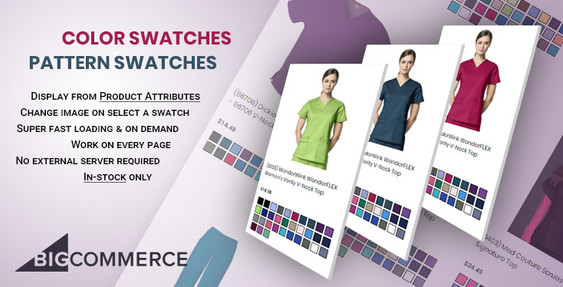 Show product attribute color swatches, patterns on product items in BigCommerce