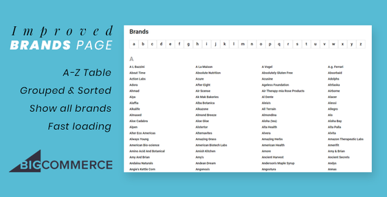 Improve Brands Page with Alphabet Table & Display All Brands in BigCommerce