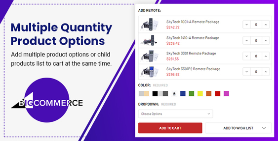 BigCommerce Multiple Quantity Product Options
