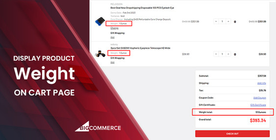 Display Product Weight on Cart Page for BigCommerce