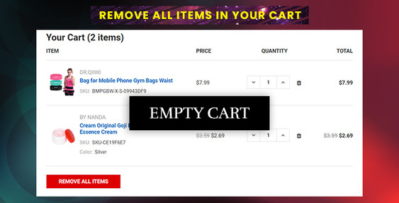 BigCommerce Remove All Items in Your Cart