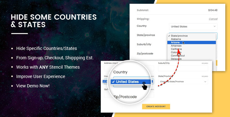 BigCommerce Addon: Hide some specific countries and states across your store