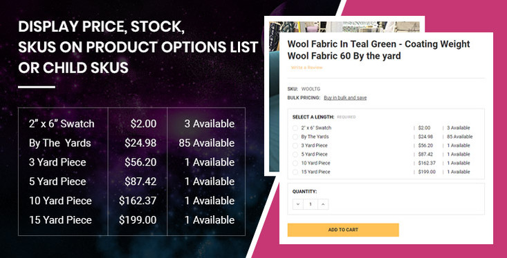 Customize BigCommerce to display price, stock, skus on product options list
