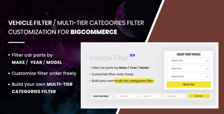 Vehicle Filter or Multi-tier Categories Filter for BigCommerce