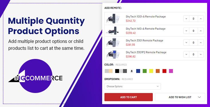 BigCommerce Multiple Quantity Product Options