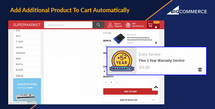 Add Additional Product To Cart Automatically for BigCommerce