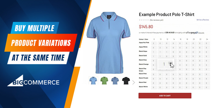 BigCommerce Product Options Quantity Table