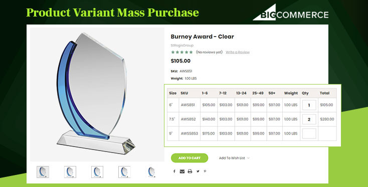 Product Variant Bulk Discount Pricing Table Mass Purchase