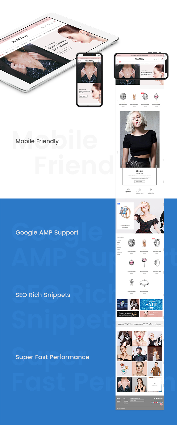 Mobile friendly, Googgle AMP support, SEO rich snippets, super fast performance
