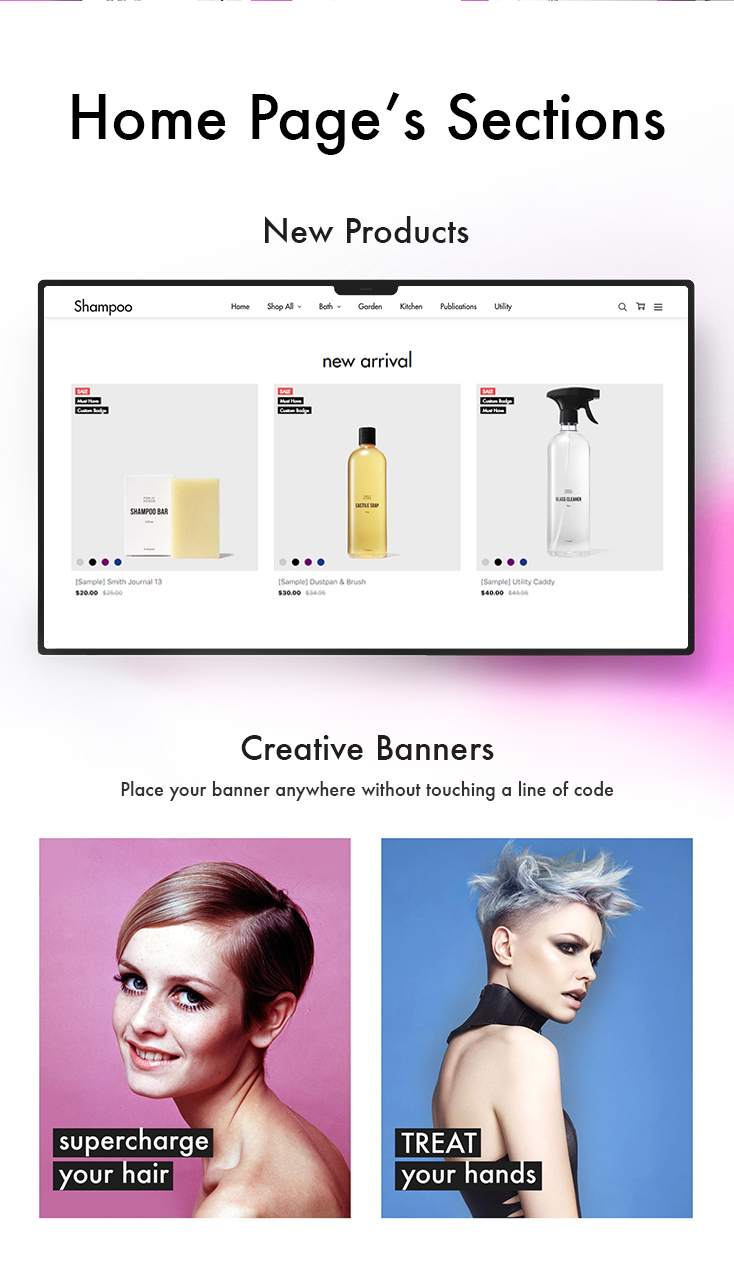 homepage sections: new products & creative banners