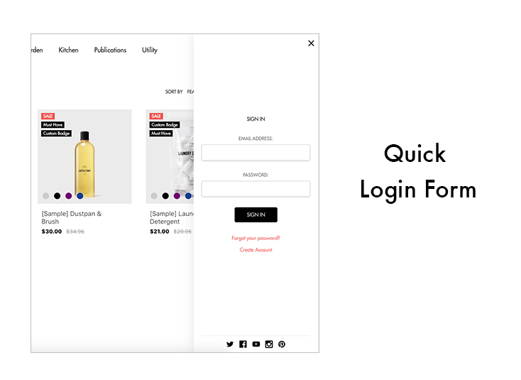 quick login form