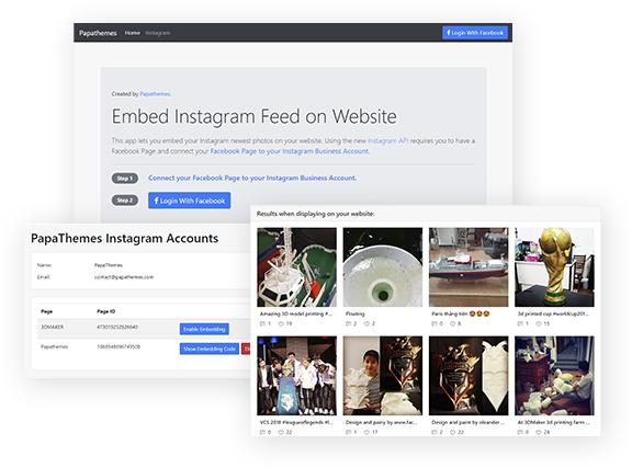 Embed Instagram photos on BigCommerce, Shopify, WordPress