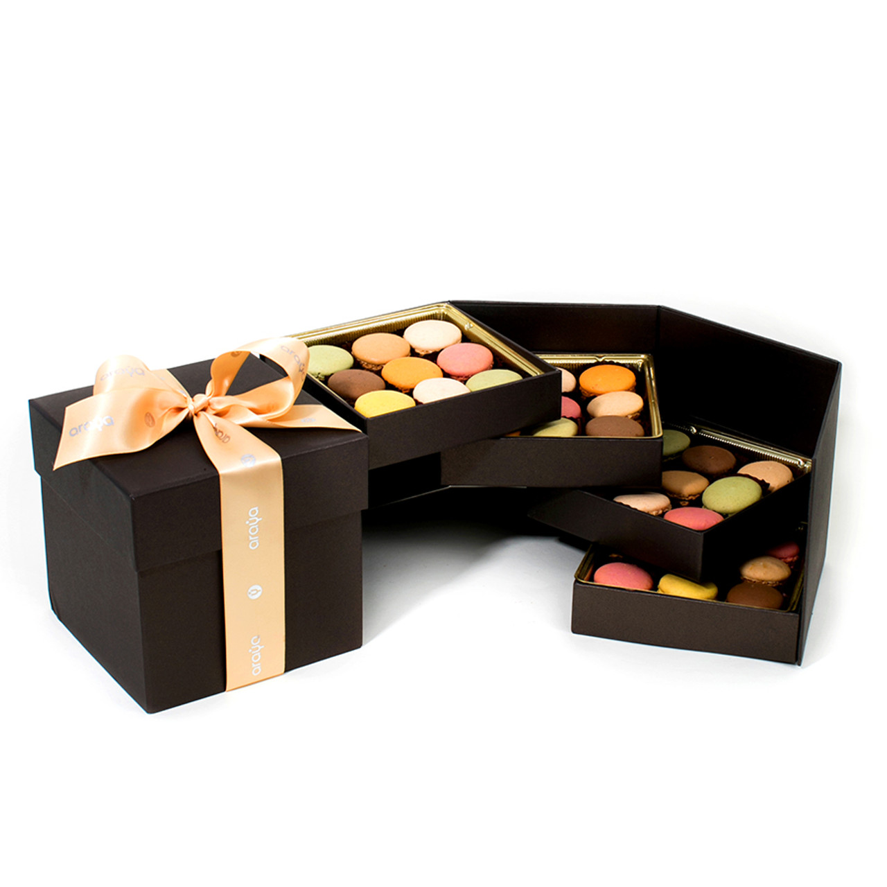 Multilayer 36 Macaron Gift Box -  Available in Red & Bronze
