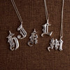 """""""Old Skool"""" Calligraphy Initial Necklace"""