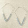 Extra Large Diamond Shaped Hoops with Genuine Aquamarines