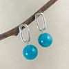 Rough Around the Edges Chain Link Post Earrings with Large Amazonite