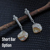 Textured Bar Post Earrings  with Abstract Pearl Accent (available in 3 lengths)