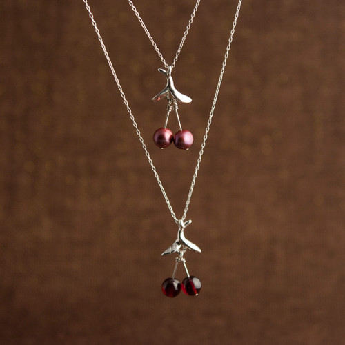 """Freshwater Pearl or Garnet """"Cherry"""" Necklace"""