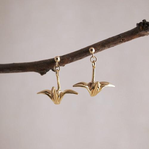 Gold Vermeil Origami Tsuru Post Earrings