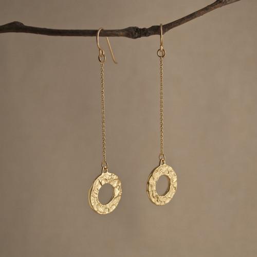 Gold Vermeil Looparella Long Drop Earrings