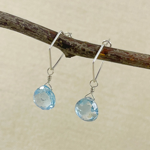 Blue Topaz, Faceted Flat Briolette Earring Accessory--hoop earrings are sold separately (10% off with any Earring Accessory purchase)