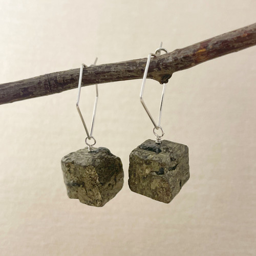 Pyrite, Raw Cube Earring Accessory--hoop earrings are sold separately (10% off with any Earring Accessory purchase)