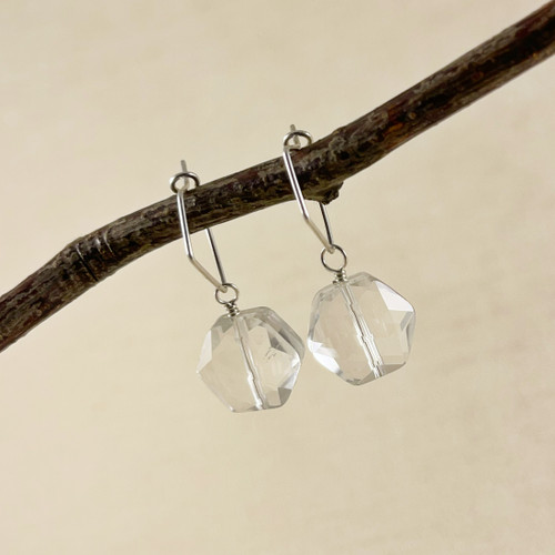Large Clear Crystal Quartz, Faceted Hexagon Earring Accessory--hoop earrings are sold separately (10% off with any Earring Accessory purchase)
