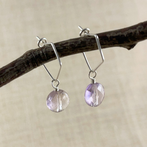 Lilac Ametrine, Faceted Puffy Disc Earring Accessory--hoop earrings are sold separately (10% off with any Earring Accessory purchase)