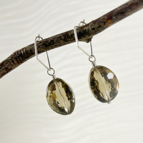 """Smokey Quartz, Faceted Triangular """"Football"""" Earring Accessory--hoop earrings are sold separately (10% off with any Earring Accessory purchase)"""
