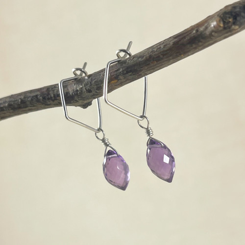Amethyst, Faceted Rounded Marquise Earring Accessory--hoop earrings are sold separately (10% off with any Earring Accessory purchase)