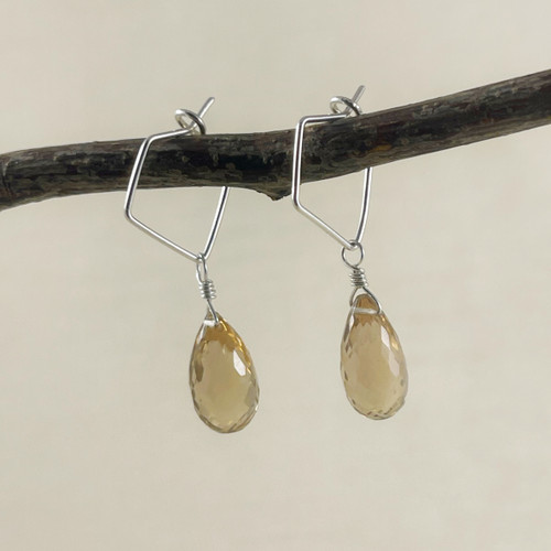 Large Champagne Quartz, Faceted Rounded Briolette Earring Accessory--hoop earrings are sold separately (10% off with any Earring Accessory purchase)