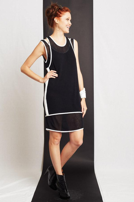 51inc Sample Sale for WK:  Black Mesh Double Tank Dress