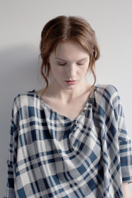 51inc Sample Sale for WK:  Blue + White Plaid Snap Top