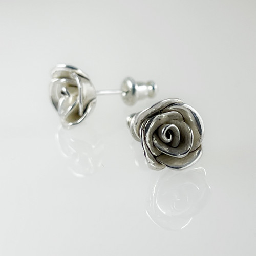 Small Handcrafted Rose Post Earrings, original cast pieces (only one available)