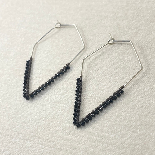 Extra Large Handmade Diamond Shaped Hoops with Black Spinel