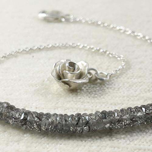 Black Rutilated Quartz Bracelet with a Handcrafted Mini Rose