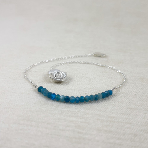 Amazonite Bracelet with Handcrafted Mini Rose End
