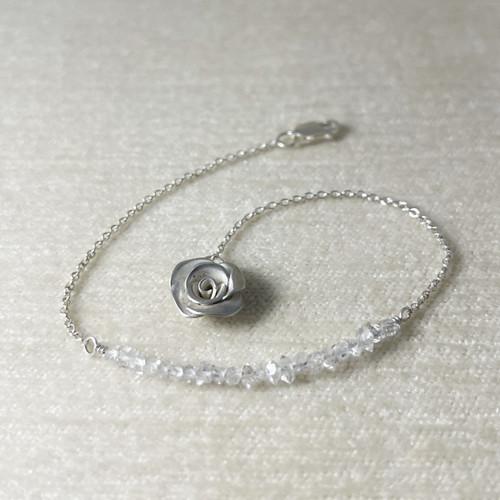 Herkimer Diamond (Quartz) Bracelet with Handcrafted Mini Rose End