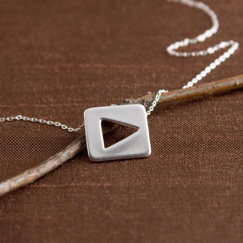 """TV Remote """"Play"""" Icon Necklace"""