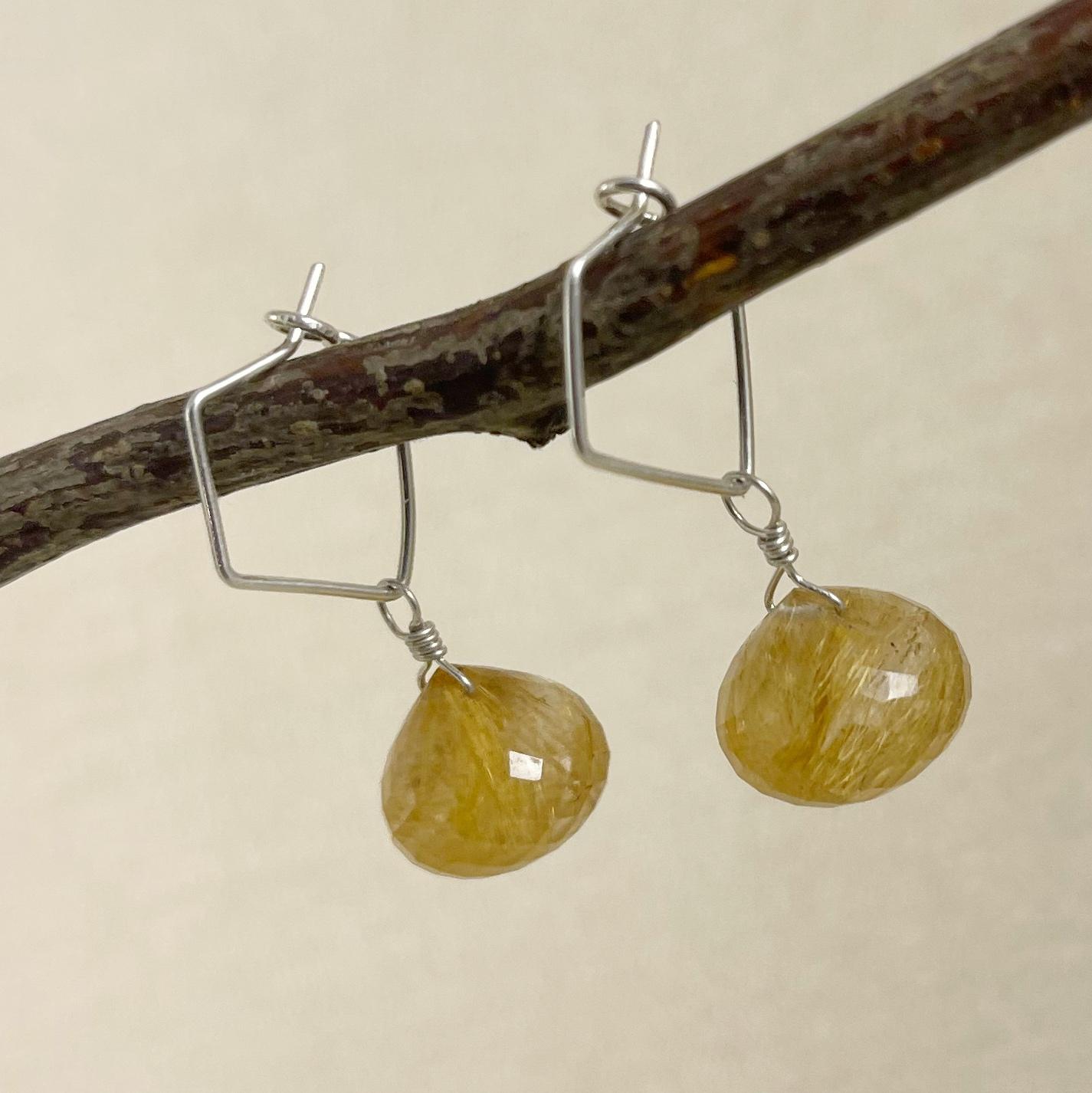 Natural Golden Rutilated Quartz Briolettes Smooth Pear Shape 10-15 MM Rutilated Quartz Briolettes Jewellery Making Gemstone Supply