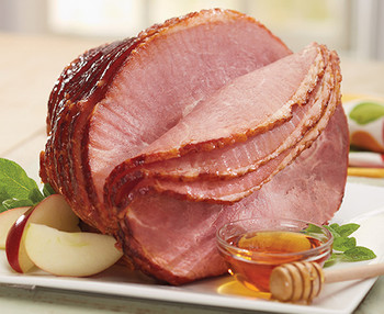 HONEY CURED AND HONEY GLAZED SPIRAL SLICED HALF SMOKED HAM