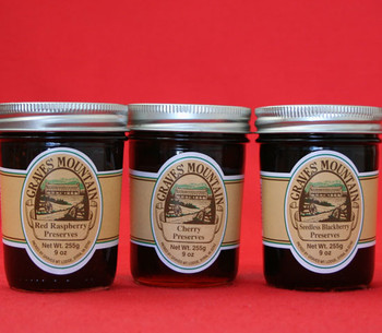 GRAVES MOUNTAIN PRESERVE SAMPLER -RED RASPBERRY PRESERVES, CHERRY PRESERVES AND SEEDLESS BLACKBERRY PRESERVES