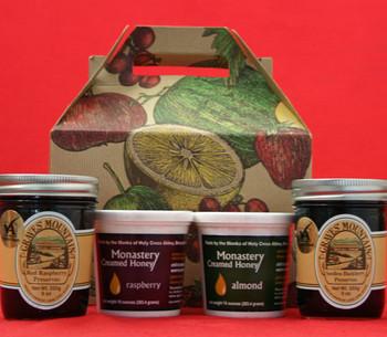RED RASPBERRY AND SEEDLESS BLACKBERRY PRESERVES, RASPBERRY AND ALMOND CREAMED HONEY
