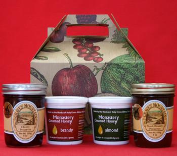 PEACH BRANDY, CHERRY PRESERVES, BRANDY AND ALMOND CREAMED HONEY GIFT BOX