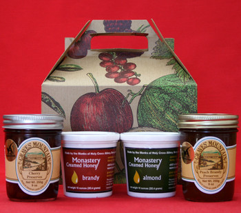 PEACH BRANDY, CHERRY PRESERVES, BRANDY AND ALMOND CREAMED HONEY GIFT BOX